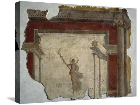 Diana Holding Up Lit Torch Fragment from North Wall of Domus in Piazza Sonnino--Stretched Canvas Print