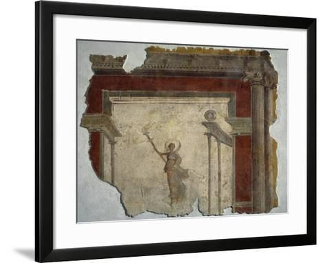 Diana Holding Up Lit Torch Fragment from North Wall of Domus in Piazza Sonnino--Framed Art Print