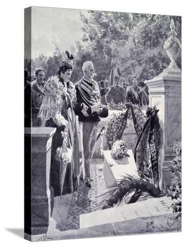 King Umberto I and Queen Margherita Visiting the Tomb of Garibaldi in Caprera April 23--Stretched Canvas Print