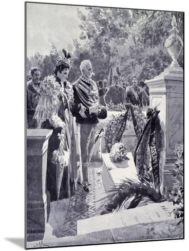 King Umberto I and Queen Margherita Visiting the Tomb of Garibaldi in Caprera April 23--Mounted Giclee Print