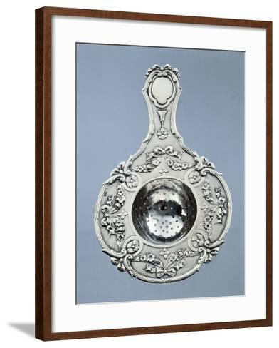 Silver Strainer with Garlands of Embossed Flowers and Tied Ribbons with Minerva Hallmark. France--Framed Art Print
