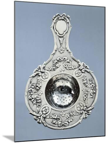 Silver Strainer with Garlands of Embossed Flowers and Tied Ribbons with Minerva Hallmark. France--Mounted Giclee Print