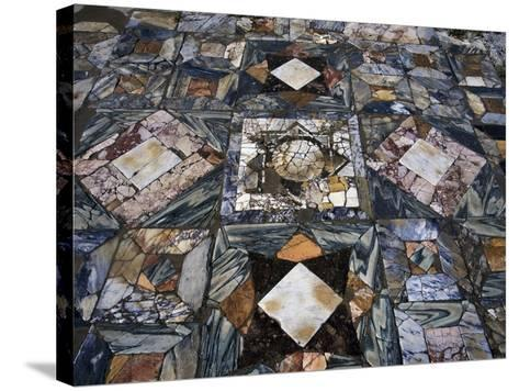Detail of Polychrome Marble Floor of Room in House of the Waterfall--Stretched Canvas Print