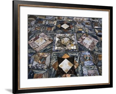 Detail of Polychrome Marble Floor of Room in House of the Waterfall--Framed Art Print
