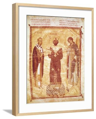 The Emperor Nicephorus Between Saint John Chrysostom and the Archangel Michael--Framed Art Print