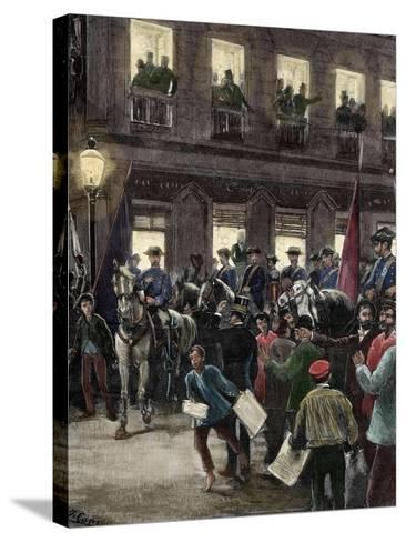 Patriotic Protest in the Seville Street About the Conflict of the Caroline Islands--Stretched Canvas Print