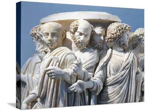 Marble Fragment of Acilia Sarcophagus Depicting Roman Senate During Procession--Stretched Canvas Print