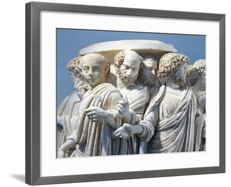 Marble Fragment of Acilia Sarcophagus Depicting Roman Senate During Procession--Framed Art Print