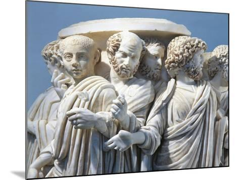 Marble Fragment of Acilia Sarcophagus Depicting Roman Senate During Procession--Mounted Giclee Print