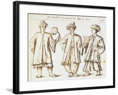 Foreign Merchants Resident in Bantang on Island of Java from Geography of World by Artus Fonnault--Framed Art Print