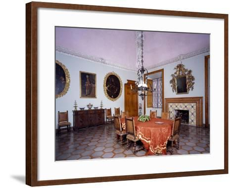 Glimpse of Dining Room with Furniture and Fireplace by Alberto Oliva--Framed Art Print