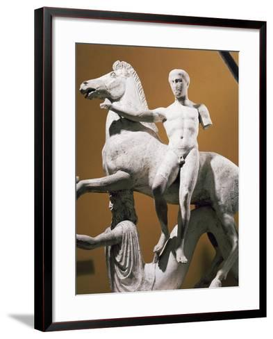 Marble Acroterion Depicting Horse and Dioscuro Supported by Marine Deity--Framed Art Print