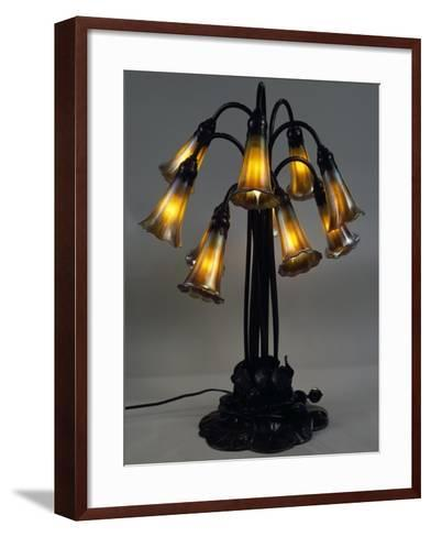 Lily Lamp with Bronze Base and Stems and Eight Bluebells in Iridescent Glass--Framed Art Print