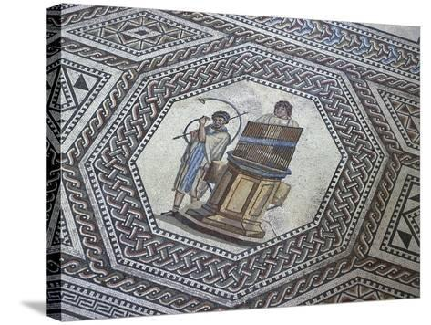 Floor Mosaic with Geometric Motifs and Medallion Depicting Organ and Horn Player--Stretched Canvas Print