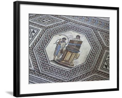 Floor Mosaic with Geometric Motifs and Medallion Depicting Organ and Horn Player--Framed Art Print