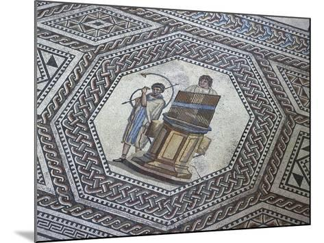 Floor Mosaic with Geometric Motifs and Medallion Depicting Organ and Horn Player--Mounted Giclee Print