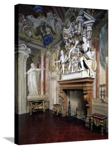 Glimpse of Room of Strong Women with Frescoes by Giovanni Bolla and Leonardo Clerici--Stretched Canvas Print
