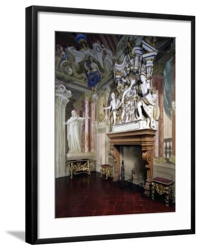 Glimpse of Room of Strong Women with Frescoes by Giovanni Bolla and Leonardo Clerici--Framed Art Print