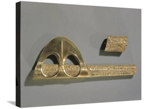 Gold Axe Decorated with Geometric Patterns and Relief Depicting Enkidu and Gilgamesh--Stretched Canvas Print