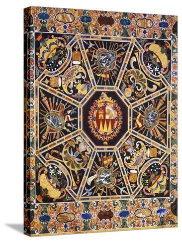 Table with Polychrome Marble Top and Inlaid Semi-Precious Stones Depicting Coat of Arms--Stretched Canvas Print