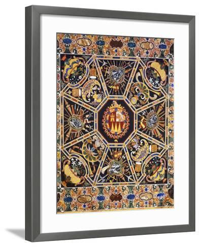 Table with Polychrome Marble Top and Inlaid Semi-Precious Stones Depicting Coat of Arms--Framed Art Print