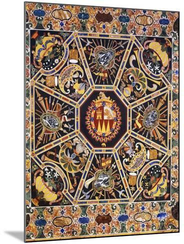 Table with Polychrome Marble Top and Inlaid Semi-Precious Stones Depicting Coat of Arms--Mounted Giclee Print