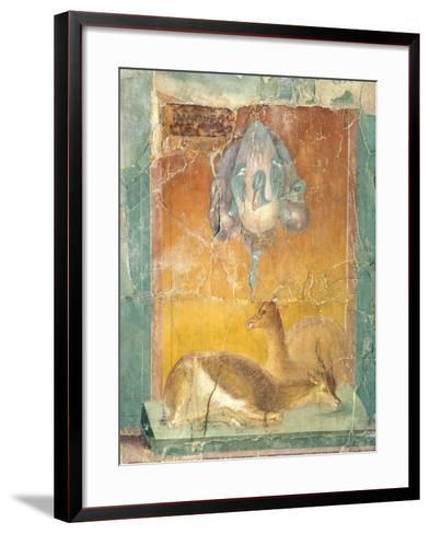 Fragment of Wall Decoration in Second Pompeian Style Showing Ducks and Antelopes--Framed Art Print