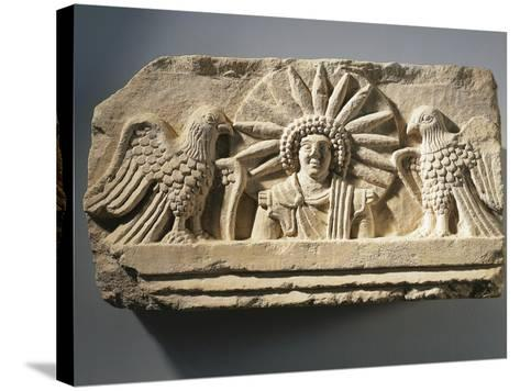 Funerary Relief Representing the God Yarhibol the Sun Symbol and Two Eagles on His Sides--Stretched Canvas Print