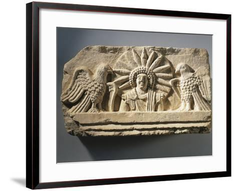 Funerary Relief Representing the God Yarhibol the Sun Symbol and Two Eagles on His Sides--Framed Art Print