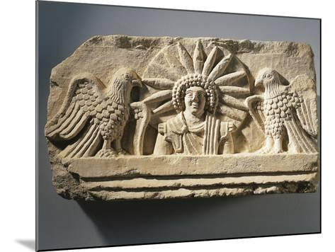 Funerary Relief Representing the God Yarhibol the Sun Symbol and Two Eagles on His Sides--Mounted Giclee Print