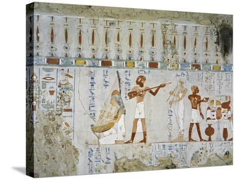 Tomb of Scribe and Granary Accountant at Amon's Estate Amenemhat, Mural Paintings of Musicians--Stretched Canvas Print