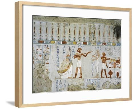 Tomb of Scribe and Granary Accountant at Amon's Estate Amenemhat, Mural Paintings of Musicians--Framed Art Print