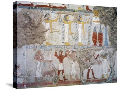 Mural Paintings Showing Votive Offerings in Tomb of Scribe and Granary Accountant--Stretched Canvas Print