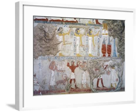 Mural Paintings Showing Votive Offerings in Tomb of Scribe and Granary Accountant--Framed Art Print