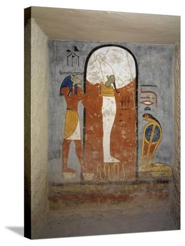 Tomb of Ramses I, Mural Painting of Ram-Head God, Osiris and Snake-Goddess Nesert--Stretched Canvas Print