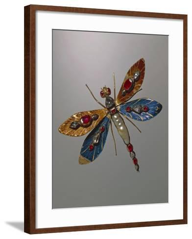 Enamelled Gold and Silver Jewel in Shape of Butterfly and Set with Baroque Pearls--Framed Art Print