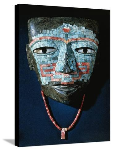 Funeral Mask Covered by Turquoise and Red Shell Mosaic. Artefact from Teotihuacan--Stretched Canvas Print