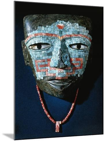Funeral Mask Covered by Turquoise and Red Shell Mosaic. Artefact from Teotihuacan--Mounted Giclee Print