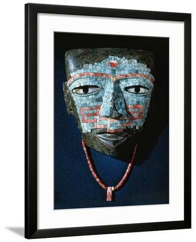 Funeral Mask Covered by Turquoise and Red Shell Mosaic. Artefact from Teotihuacan--Framed Art Print
