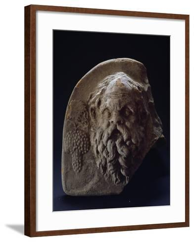 Terracotta Antefix Depicting Satyr Head and Bunch of Grapes from Temple of Apollo at Metaponto--Framed Art Print