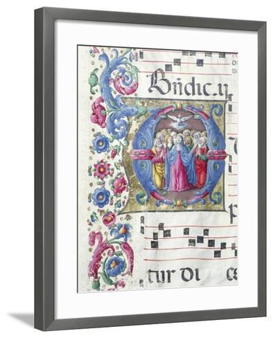 Illuminated Initial Capital Letter Depicting the Pentecost--Framed Art Print