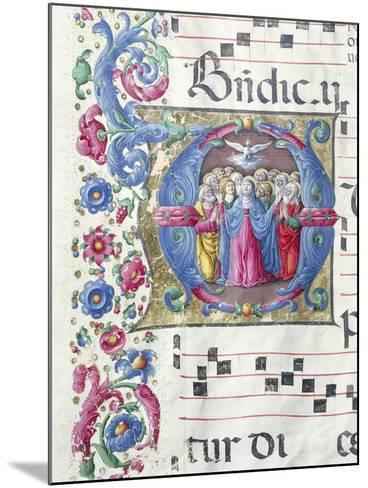 Illuminated Initial Capital Letter Depicting the Pentecost--Mounted Giclee Print