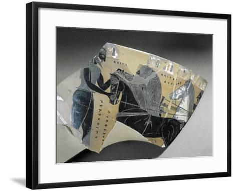 Fragment of Kantharos Depicting Achilles before His Horses--Framed Art Print