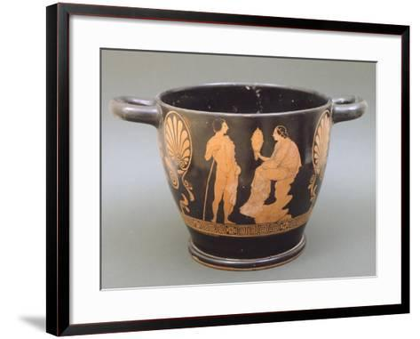 Skyphos Depicting Woman Looking into Mirror and Young Man--Framed Art Print