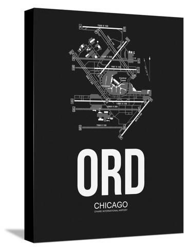 ORD Chicago Airport Black-NaxArt-Stretched Canvas Print