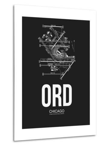 ORD Chicago Airport Black-NaxArt-Metal Print