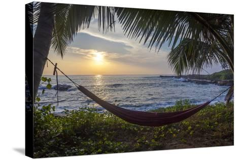 Silhoutte of an Empty Beach Hammock at the Beach, Tangalle, Sri Lanka, Asia- Charlie-Stretched Canvas Print