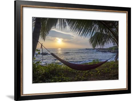 Silhoutte of an Empty Beach Hammock at the Beach, Tangalle, Sri Lanka, Asia- Charlie-Framed Art Print