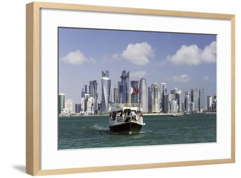 New Skyline of the West Bay Central Financial District of Doha, Qatar, Middle East-Gavin-Framed Art Print