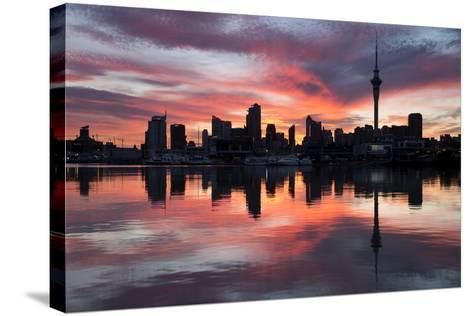 Sky Tower and City at Dawn from Westhaven Marina, Auckland, North Island, New Zealand, Pacific-Stuart-Stretched Canvas Print